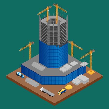 building site: building site with building under construction skyscraper. A concrete mixer, crane, truck with building materials. isometric, infographic
