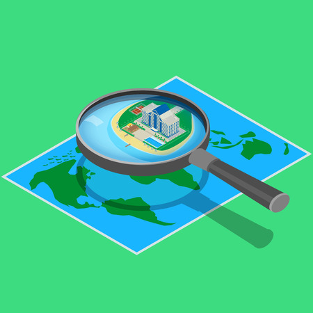 hotel pool: Modern hotel on the map near the sea. look through a magnifying glass. A beachfront restaurant, swimming pool, tennis court. isometric, infographic