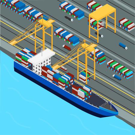Puerto, grúa portuaria carga los contenedores del buque de carga. Camiones contenedores de transporte. isométrica, infografía Ilustración de vector