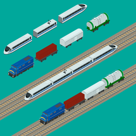 boxcar: Set train icons. Passenger fast train, the locomotive, boxcar, container, tank. isometric, infographic.