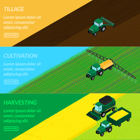 plowing: illustration. Web banners agriculture. tractor tills the field, plowing, sprays insecticide. Harvester gathers the wheat crop. isometric, infographics, 3D Illustration