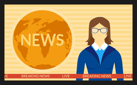 newsreader: illustration. The news on screen TV. The woman reporter in the glasses.