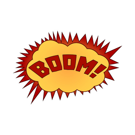 biff: illustration. The word boom in a cloud of explosion.