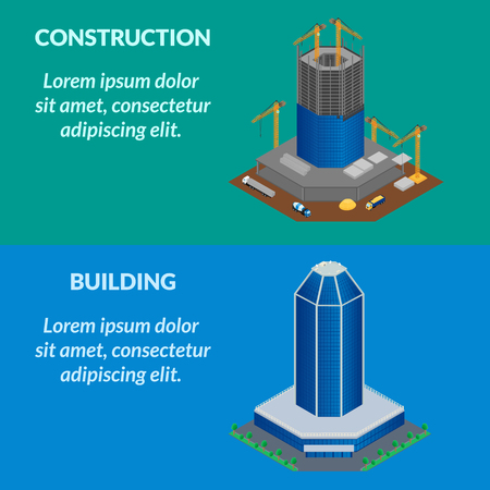 building site: illustration. the construction site of a building, a skyscraper. Isometric, infographics, 3D