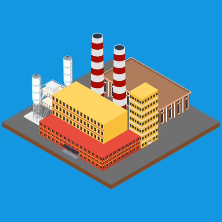 warehouse building: illustration. Factory with pipes, office building and warehouse. Isometric, infographics, 3D Illustration