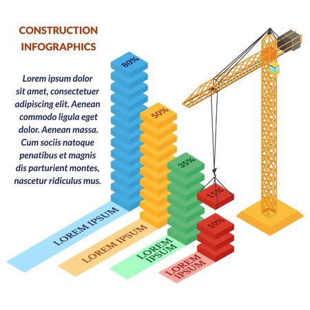 builds: illustration. web construction infographics . construction crane builds graphic. isometric, 3d