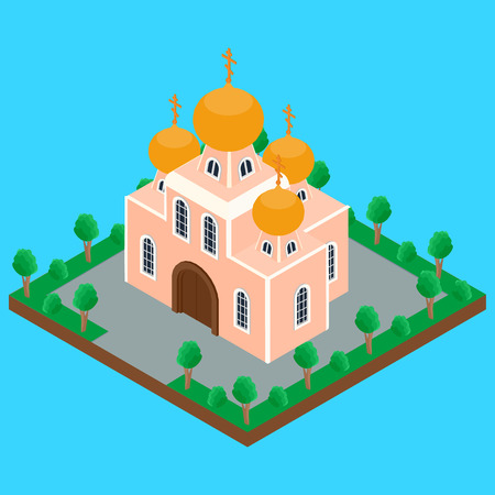 church interior: illustration. building of the Orthodox  Christian Church with domes and crosses on the street, the trees, the road. isometric, infographics, 3D Illustration