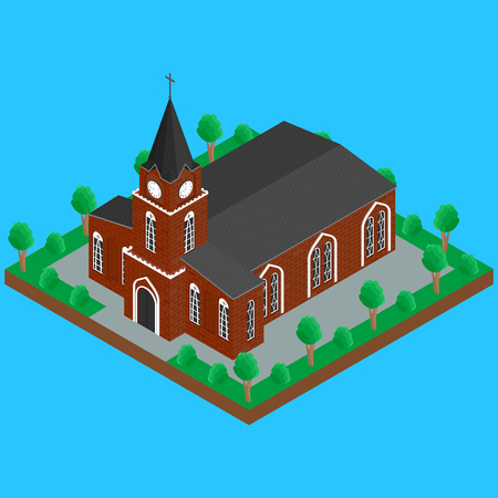 spire: illustration. The Catholic Christian Church with a spire on the street, the trees, the road. isometric, infographics, 3D Illustration
