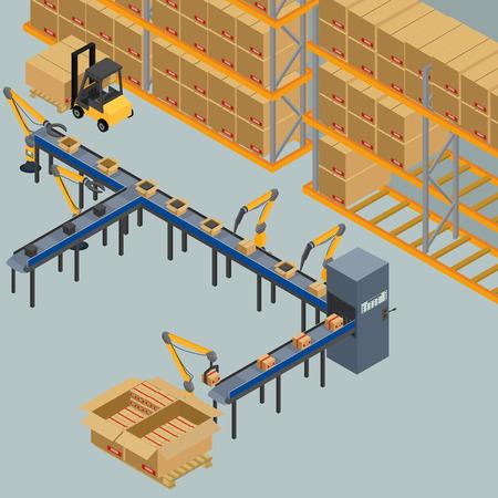 cinta transportadora automática, línea de producción. robots desplazan cajas, envases. isométrica, infografía, 3D
