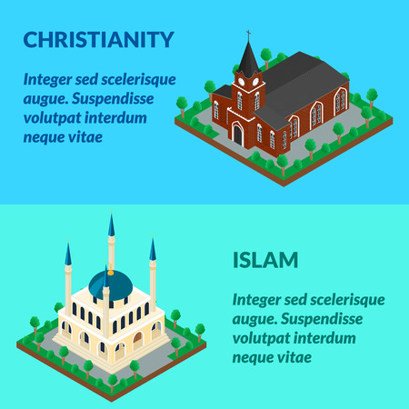 church 3d: Web banner brick building of the Catholic Church, a Muslim mosque. Isometric, infographics, 3D