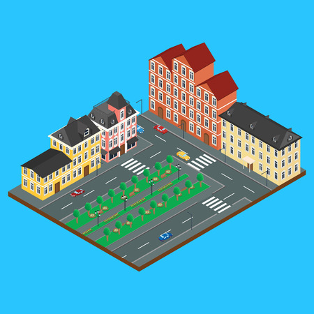 old architecture: the building of old architecture. Alley in the Park. City street with cars. Infographics, isometric, 3D