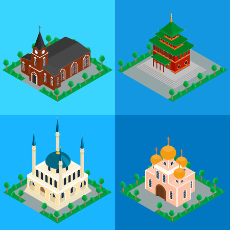 3d temple: set of buildings Catholic, Orthodox Christian Church, Buddhist temple, Islamic Muslim mosque. Isometric, infographics, 3D Illustration