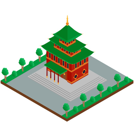 3d temple: vector illustration. The building of a Buddhist temple. isometric, 3D