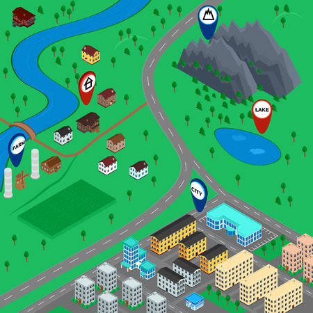 lake district: vector illustration. cartoon 3D map landscape with signs, city, road, village, mountain, river, lake, farm. The building of houses. gps navigation. Isometric.
