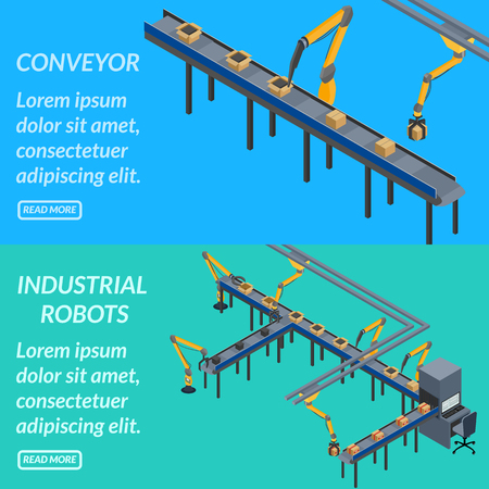vector illustration. web banner automated conveyor line, industrial robots. isometric, 3D