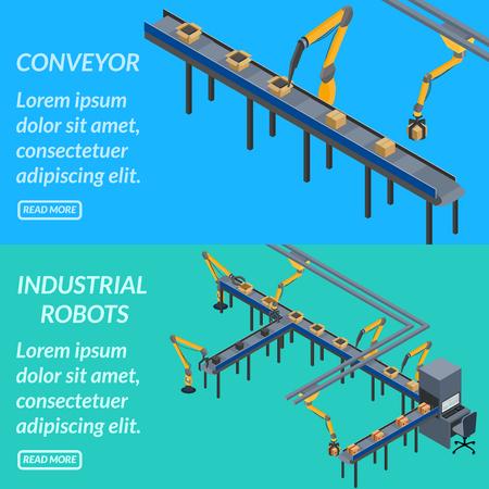 vector illustratie. web banner geautomatiseerde transportband, industriële robots. isometrisch, 3D