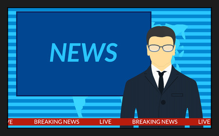 vector illustration.TV screen with the breaking news. Male news anchor