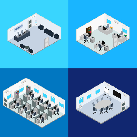 office space: vector illustration. The interior of the office - reception, conference room, open office space, room managers. Isometric, infographics, 3D Illustration