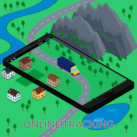 tracking: vector illustration. Online tracking of delivery on the screen of the mobile phone on the map. Truck. Isometric, infographics, 3D