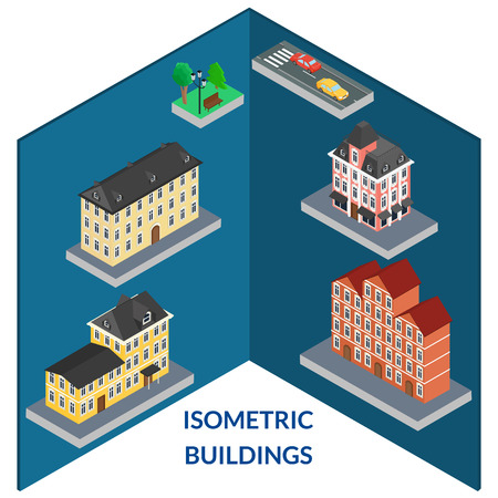 old architecture: vector illustration. set buildings of old architecture. Tree, bench, light, road, cars. Infographics, isometric, 3D Illustration