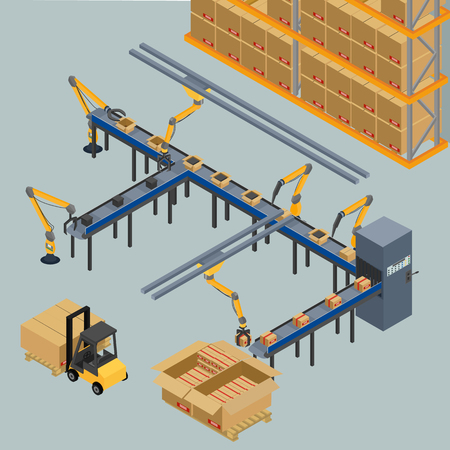 conveyor system: vector illustration. automatic belt conveyor, production line. robots shift boxes, packaging. isometric, infographics, 3D