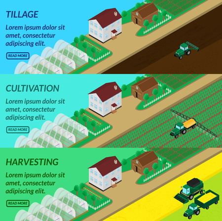 plowing: vector illustration. Web banner agriculture - plowing fields, spraying, harvesting. Tractor, combine. House, barn, greenhouses. Isometric, 3D Illustration