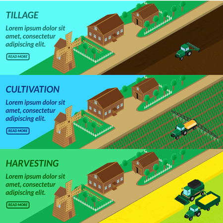 plow: vector illustration. Web banner agriculture, field cultivation - tractor plow, irrigate insecticide planting, combine harvesting. House, mill, barn. Isometric, 3D