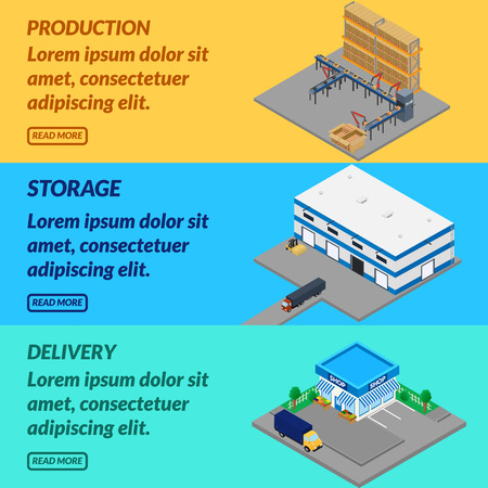 cinta transportadora: Vector illustration. Web banner production. Belt conveyor, storage, delivery to the store. Isometric, 3D. Vectores