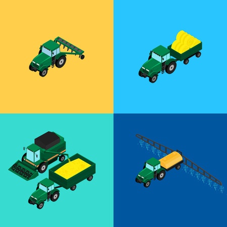 plow: vector illustration. Set of agricultural icons. A tractor with a plow and a trailer with hay. Tractor sprinkles planting insecticides. The harvester harvests. Isometric, 3D