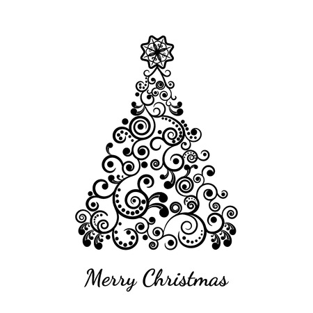 curl: vector illustration. A stylized Christmas tree, the curl ornament. New year, background. Illustration