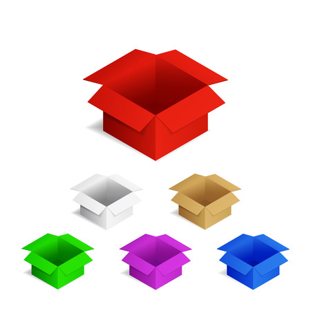 vector illustration. Open the cardboard packing boxes. Colorful set Illustration
