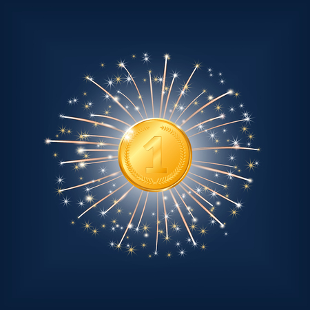 1 place: vector illustration. Gold medal, first place on the background of fireworks