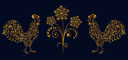 vector illustration. Lace openwork pattern cocks with flower.