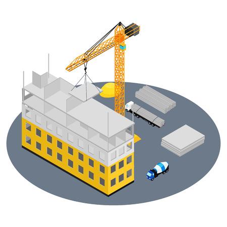 ベクトル イラスト。建設現場、建設、クレーン、コンクリート ミキサー、トラックの下の家。コンクリート ブロック。アイソ メトリック、インフ