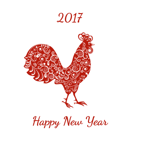 Vector illustration. 2017 new symbol, the rooster, decorated with a delicate tendril pattern. Illustration
