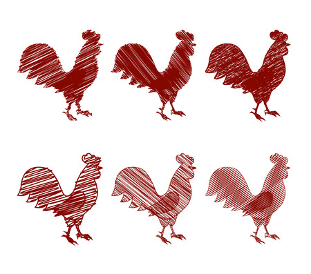 Rooster the symbol of the new year 2017, the set of contour icons, the shaded silhouette
