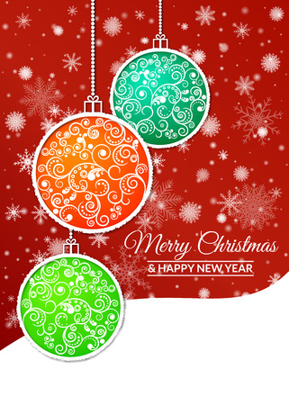 Colorful Christmas balls decorated with a delicate pattern on a background of falling snowflakes. Design for greeting cards, banners, posters.