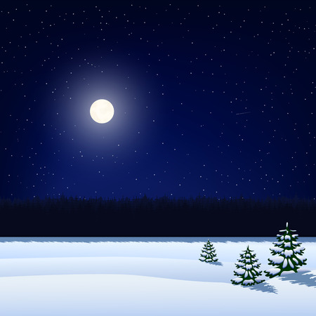 Winter night background. The sky with stars, the moon, the snow-covered field with Christmas trees and forest