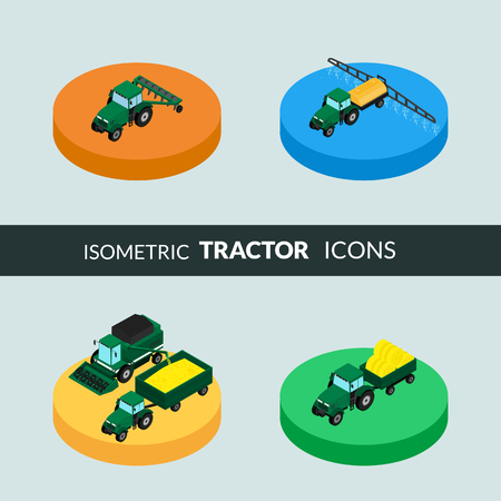 plow: illustration. Set of agricultural icons. A tractor with a plow and a trailer with hay. Tractor sprinkles planting insecticides. The harvester harvests. Isometric, 3D Illustration