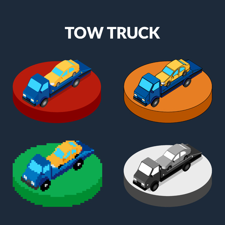 illustration. Set of icons of the tow truck of different styles - pixel, monochrome, colorful. Isometric, 3D. Illustration