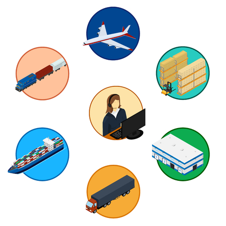 illustration. Set of logistics icons. Infographics of the chain of delivery. Isometric, 3D. Freight train, ship, plane, truck, operator service, warehouse, storage