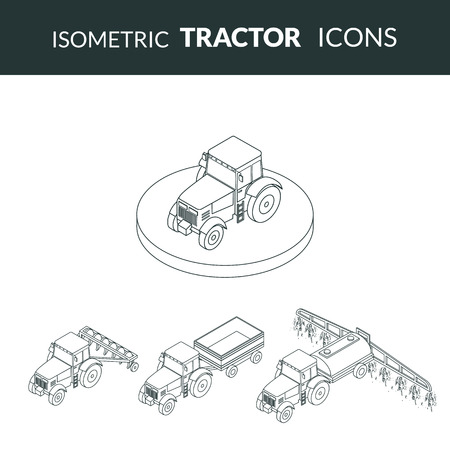 plow: illustration. set of agricultural contour outline icons. Farm tractor with plow, trailer, sprayed with insecticides. 3D, isometric Illustration