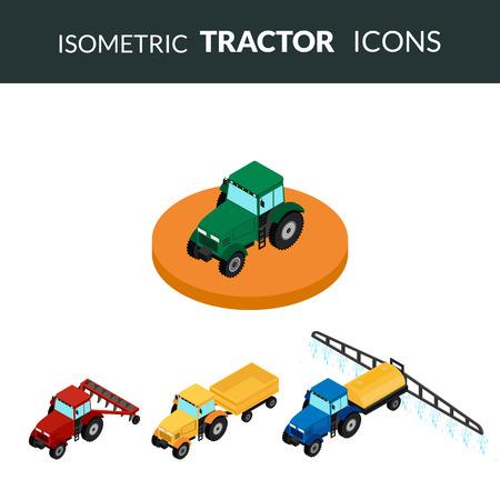tillage: ilustración. Conjunto de iconos agrícolas. Un tractor con un arado y un remolque. Tractor insecticidas rocía la siembra. Isométrica, 3D