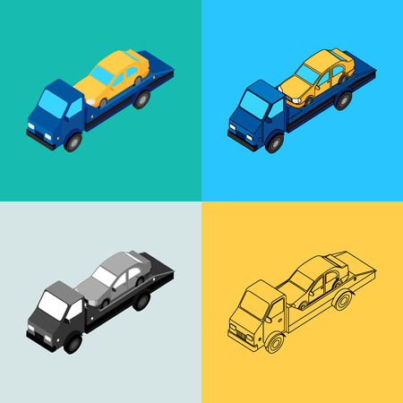 illustration. Set of icons of the tow truck of different styles - contour, monochrome, colorful. Isometric, 3D.
