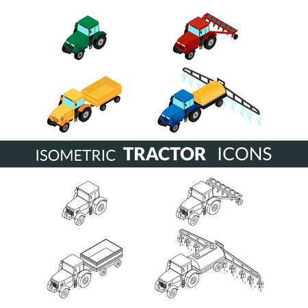 tillage: illustration. set of agricultural icons. Farm tractor with plow, trailer, sprayed with insecticides. 3D, isometric. Contour, outline and color Illustration
