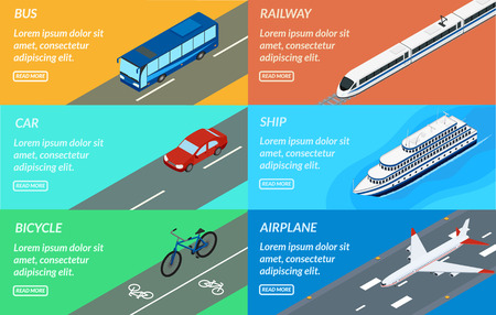 Set of web banners of public passenger transport. Bus, car, bicycle, ship, train, plane. Design for tourism, rental, sale of tickets. Illustration