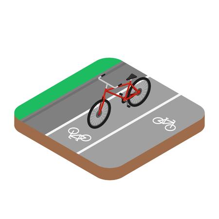 Red Bicycle on the bike road. Isometric, 3D Ilustração