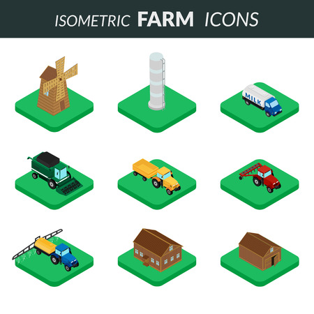 plow: Set of icons of farm buildings and agricultural machinery.