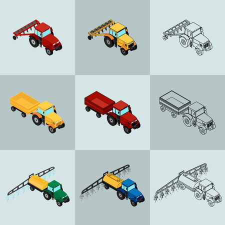 plow: Set of agricultural icons in different styles. Farm equipment. The tractor-trailer, tractor sprays insecticide and with a plow.