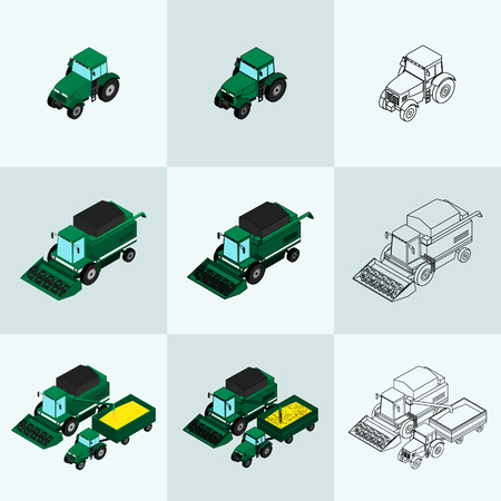 plow: Set of agricultural icons in different styles. The tractor-trailer, tractor sprays insecticide and with a plow. The harvester harvests. Isometric, 3D
